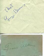 GEORGE BURNS ACTOR & GRACIE ALLEN ACTRESS COMEDY TEAM SIGNED PAGES AUTOGRAPH