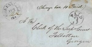 21013# USA COVER LETTER GREENVILLE 22 JULY1853 TO GEORGIA.3 CENTS BLACK.