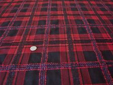 ITALIAN WOOL CHECK-RED/BLACK/PURPLE-SUITING/JACKET FABRIC -FREE P+P