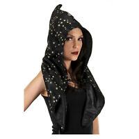 Adult Child Black Sorcerer Witch Festival Magic Halloween Costume Wizard Hood