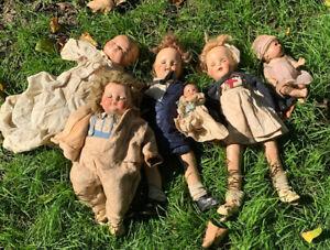 Antique Lot 6 COMPOSITION DOLLS Nurse Baby Stewardess Vtg Clothing Effanbee