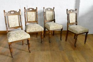 Antique carved oak set of 4 dining chairs