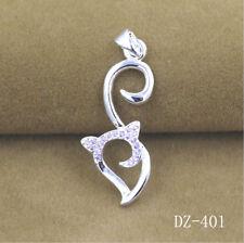 925 Sterling Silver Plated fox Zircon Pendant Plus Chain Wholesale #9
