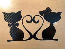 Aufkleber Auto Tattoo ca.18x10cm - CATS-LOVE -Schwarz Carbon - Katzen