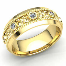 0.2ctw Round Not Enhanced Diamond Mens Integrated Bezel Wedding Band 14K Gold