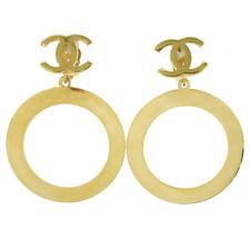 Hoop Shaking Earrings Gold Clip-On Gs02406 Chanel Cc Logos Huge Jumbo Big