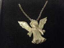 "Nativity Angel GT125 Pewter On 20"" Silver Plated Curb Necklace"
