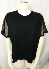 Aritzia Wilfred Free T Shirt Fishnet Short Sleeves Black Top Stretch Tee Large