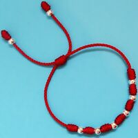 Lucky red string bracelet Kabbalah Amulet 7 Knots with plated beads man or women