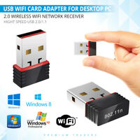 USB 2.0 WIRELESS WiFi NETWORK RECEIVER ADAPTER DONGLE 150 Mbps FOR DESKTOP PC