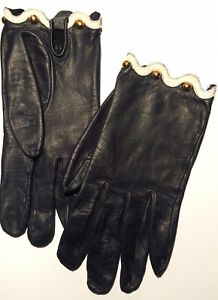 AUTHENTIC VINTAGE HERMES LEATHER GLOVES women navy white trim gold preowned 7