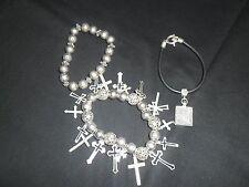 Silver Cross Bracelet Two Others