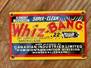 """VINTAGE WHIZ-BANG BULLETS 8 x 5"""" CANADIAN PORCELAIN ENAMEL SIGN, GUNS HUNTING AD"""