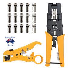 Compression Tool For RG6 RG59 F Connector Cable Coax Coaxial Crimper + Stripper