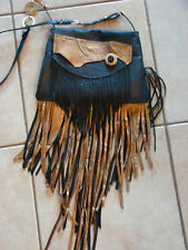 Handmade Leather Hippie Gypsy Fringe Bag Festival Boho Crossbody Purse