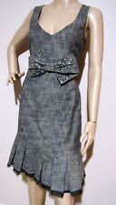 REVIEW size 12 patterned DRESS with bow & beads and pleated hem with lace trim