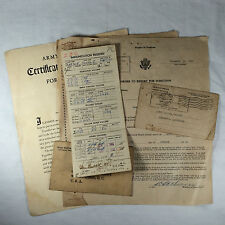 WWII PAPERWORK Draft CARD Order to Report Vaccination Record Medical Exam Cert