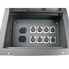Recessed stage floor pocket box with 8 XLR female mic jacks connector AC outlet