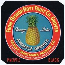 Orange Lake, original florida pinapple crate label, crosby- wartmann packing co