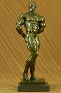 Art Deco Black Bodybuilder Bronze Sculpture Marble Base Figurine Figure deco NR