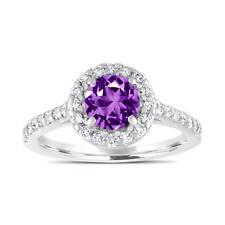 Platinum Amethyst Engagement Ring, With Diamonds Bridal Ring 1.54 Carat