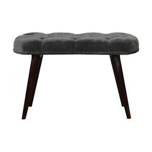 Grey Velvet Seat Bench