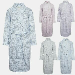 LADIES QUILTED COTTON RICH DRESSING GOWN ROBE NIGHTWEAR NIGHTDRESS*TWO STYLES*