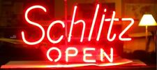 "New Schlitz Open Beer Bar Artwork Neon Light Sign 17""x14"""