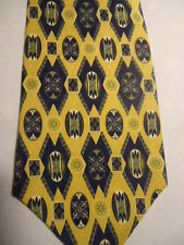 "Barrington White Gray Yellow Geometric Designs Silk Tie 57"""