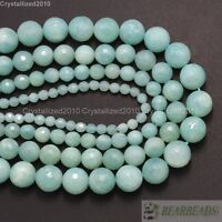 Natural Amazonite Gemstone Faceted Round Loose Beads 4mm 6mm 8mm 10mm 12mm 16""