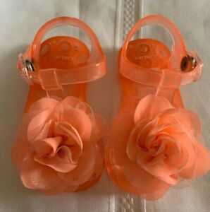 Baby Girl infant toddler Carters sandals Jellies size 6-9m Orange Beach Shoes