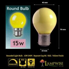 Crompton 15 Watt BC B22 Round Yellow Finish