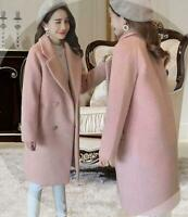 Women Winter Outwear Warm Wool Lapel Trench Coat Double Breasted Jacket Overcoat