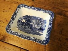 Shredded Wheat Dish Abbey 1790 Geo Jones & Sons Blue & White