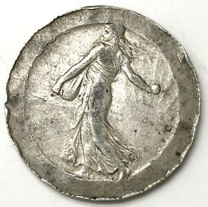 Rare Partial Collar Paris Mint Error 1918 Silver France 2 Francs Seed Sower Coin