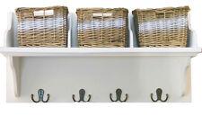 Wooden Storage Shelf With 3 Wicker Baskets & Coat Hooks Hanger Wall Unit White