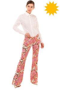 RRP €400 JUST CAVALLI Trousers Size 27 Stretch Floral Flared Leg Made in Italy
