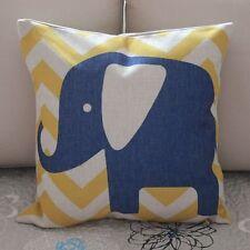 Blue Elephant Zig Zag Cotton Linen Throw Pillow Cushion Cover Home Decor Z376