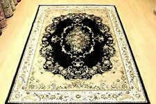 Machine Washable Rug Black & GOLD Traditional Oriental design Flat Weave Rugs