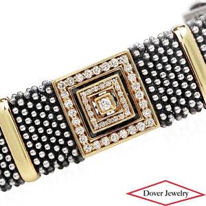 Lagos Caviar Diamond 18K Gold Silver Washington Square Bracelet 130.9 Gr NR