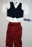 Nautica Baby Boys' Woven Pique Vest Set Shirt Pants Bow Tie White Blue Red 12 M