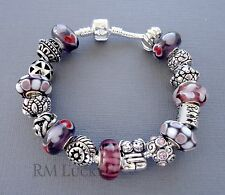European style Charm Bracelet. Murano Glass beads. Charm Hug, sis, Family S16