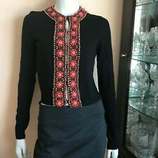 Lucky Brand Beaded Cardigan Sweater Cropped Black Orange Long Sleeve Size Small