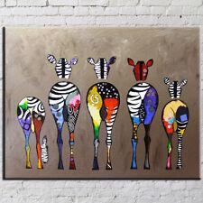 Modern Abstract Oil Painting Wall Decor Art Huge -Cartoon Colourful giraffe deer