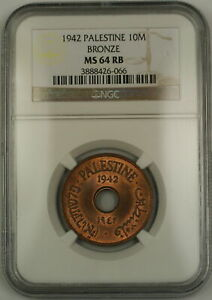 1942 Palestine 10M Ten Mils Bronze Coin NGC MS-64 RB Red-Brown (Mostly Red)