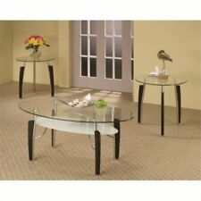 Bowery Hill 3 Piece Round Coffee and End Table Set in Cappuccino