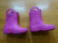 Girl's Crocs Pink Waterproof Boots Size 3