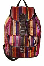 Moroccan Leather Handmade Backpack Bag Purse Handbag Silk Fabric Chocolate