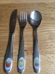 WMF Kinder Besteck Die Küchenmaus selten 3 Teile Cromargan Messer Gabel Löffel