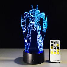 3D GUNDAM Robot Night Light Acrylic LED Table Desk Lamp Art Distance Control